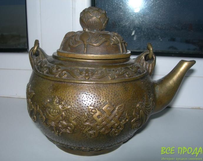 Чайник, бронза, старинный, Тибет, клеймо!