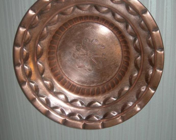 Блюдо большое, тарелка, 31 см, медь, старинное