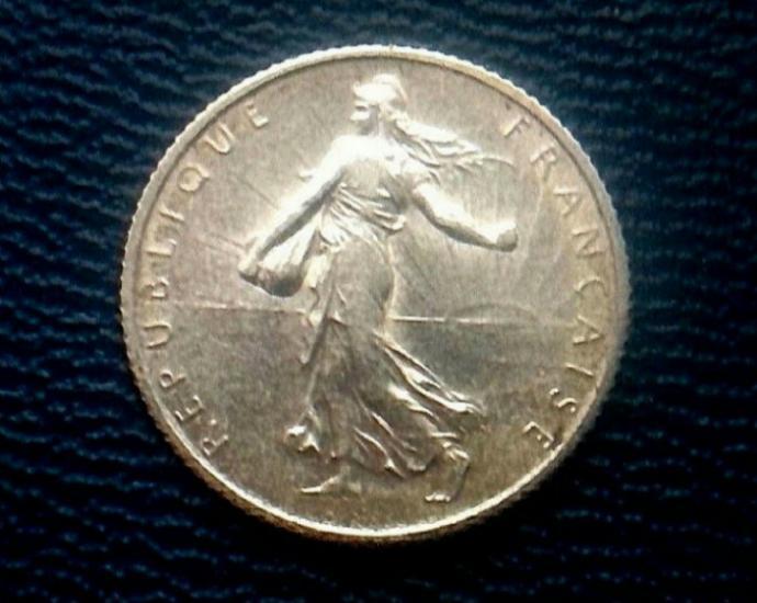 Франция 1 Франк 1915г. Серебро.